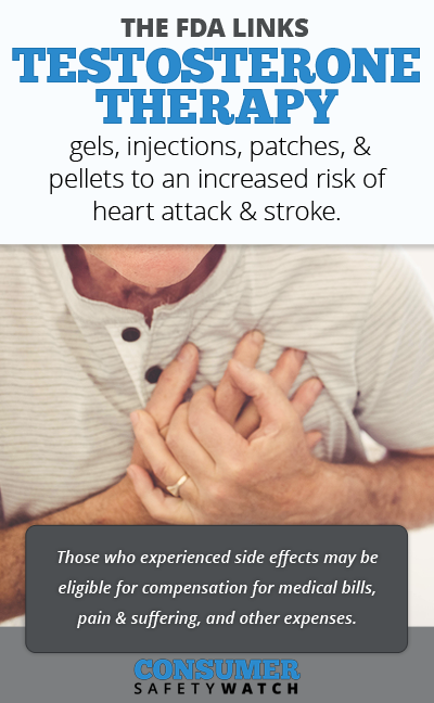 The FDA links testosterone therapy gels, injections, patches, & pellets to an increased risk of heart attack & stroke. // Consumer Safety Watch