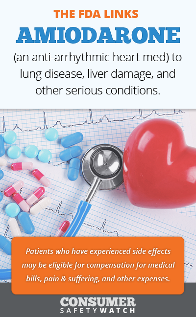 The FDA links Amiodarone (an anti-arrhythmic heart medication) to lung disease, liver damage, and other serious conditions. // Consumer Safety Watch
