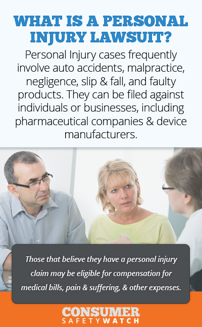 Personal Injury lawsuits frequently involve auto accidents, malpractice, negligence, slip & fall, and faulty products. They can be filed against individuals or businesses, including pharmaceutical companies & device manufacturers. // Consumer Safety Watch